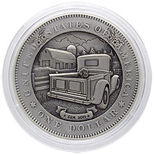 Steve Adams Hobo Nickel Carved On Graded Deep Mirror Prooflike 1878 Morgan Silver Dollar - Puppy Loves the Truck