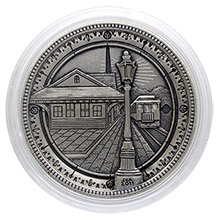 Steve Adams Hobo Nickel Carved On Graded Deep Mirror Prooflike 1878 Morgan Silver Dollar - Train Station