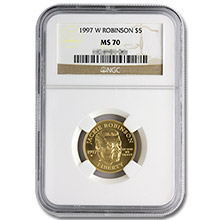 1997-W $5 Gold Jackie Robinson NGC MS70 Commemorative Coin