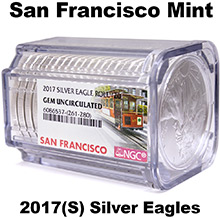 2017(S) 1 oz American Silver Eagles NGC Certified BU Rolls (20 Coins) - San Francisco Mint