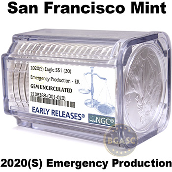 2020(S) 1 oz American Silver Eagles NGC Certified BU Rolls (20 Coins) - San Francisco Mint, Emergency Production, Early Releases