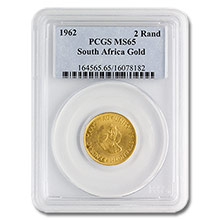 1962 South Africa Gold PCGS MS65 1/10 oz Coin