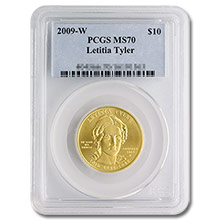 2009-W 1/2 oz Gold Letitia Tyler First Spouse Coin PCGS MS70