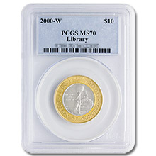 2000-W Library of Congress $10 Gold PCGS MS70