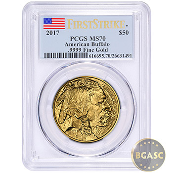 2017 American Gold Buffalo Coin PCGS Graded MS70 First Strike