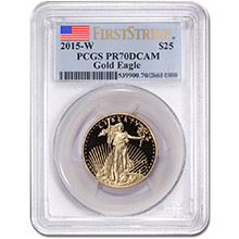 2015-W 1/2 oz Proof American Gold Eagle $25 Coin PCGS PR70 First Strike