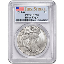 2015-W Burnished American Silver Eagle Coin PCGS Graded SP70 First Strike West Point Mint