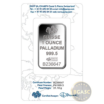 1 oz Palladium Bullion Bar Pamp Suisse Fortuna .9995 Fine Bullion Ingot in Assay - Image