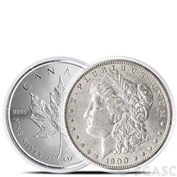 Coin Capsules for Silver Dollars & 1 oz Silver Canadian Maple Leaf - Air-Tite H38 Direct Fit 38mm - Image