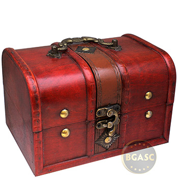 Large Wooden Treasure Chest Coin Box with Swivel Latch & Handle