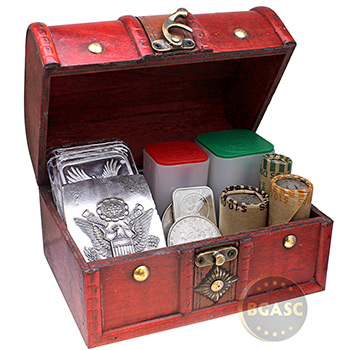 Large Wooden Treasure Chest Coin Box with Swivel Latch and Handle - Image