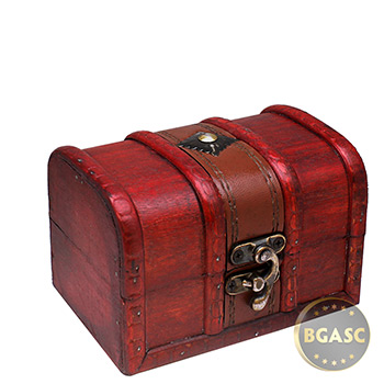 Small Wooden Treasure Chest Coin Box with Swivel Latch