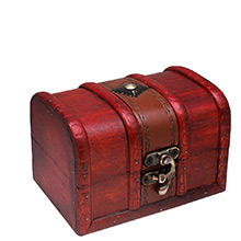 Small Wooden Treasure Chest with Swivel Latch - Coin Box