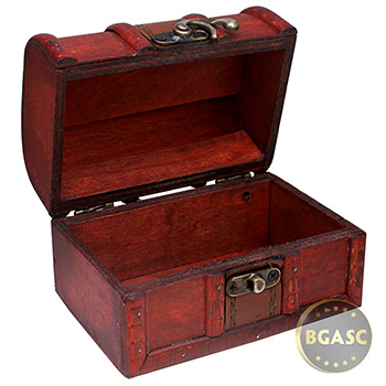 Small Wooden Pirate Coin Treasure Chest - Image