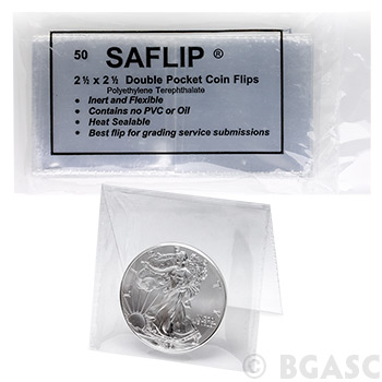 50-Pack SAFLIP® 2.5 x 2.5 Double Pocket Mylar Coin Flips  - Inert & Flexible