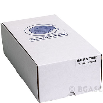 Bulk Half Dollar Coin Tubes 50 Cent - CoinSafe 32.1mm T-HAF-20100 - 100 Count Display Box - Image