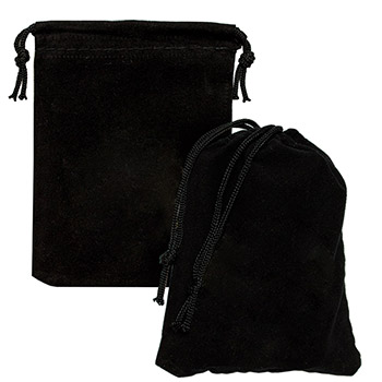 Small Velveteen Treasure Bag - Black 3x4 Empty - Image