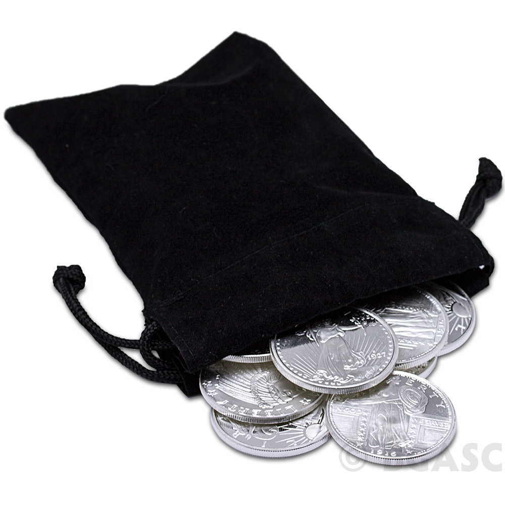 "5.5/"" x 9.5/"" Heavy Duty Holds $100+ Coins Empty Small Coin Bag with Ties"