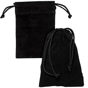 Medium Velveteen Treasure Bag - Black 4x6 - Image