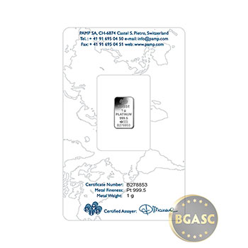 1 gram Platinum Bar Pamp Suisse Fortuna .9995 Fine in Assay - Image