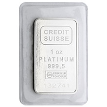 1 oz Platinum Bar Credit Suisse .9995 Fine Bullion Ingot (with Assay)