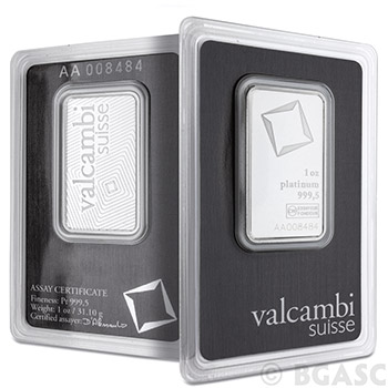 1 oz Platinum Bar Valcambi .9995 Fine Bullion Ingot (in Assay)