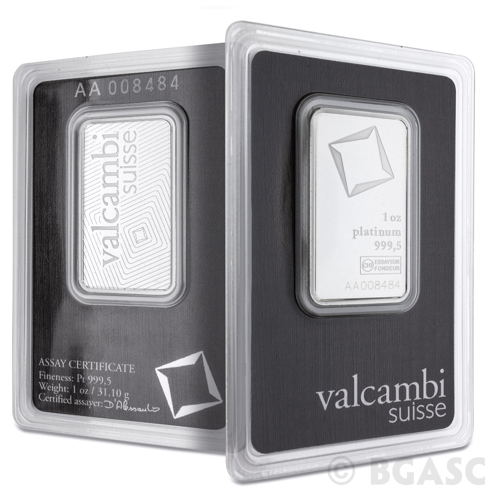 Buy 1 Oz Platinum Bar Valcambi 9995 Fine Bullion Ingot