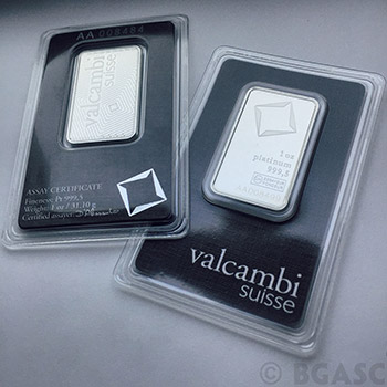 1 oz Valcambi Platinum Bullion Bar .9995 Fine Mint Sealed with Assay - Image