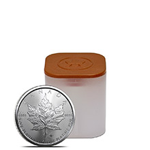 2021 1 oz Platinum Canadian Maple Leaf Bullion .9995 Fine BU (Tube of 10 Coins)