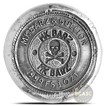1 oz Silver Illuminati MK BarZ .999 Fine 3D Art Round - Image