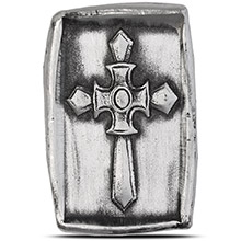 1 oz Silver Knight's Templar Cross MK BarZ .999+ Fine 3D Art Bar