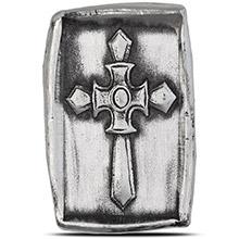 1 oz Silver Knight's Templar Cross MK BarZ .999+ Fine 3D Art Bar
