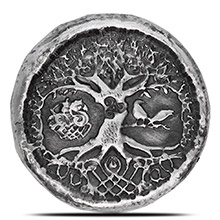 1 oz Silver Celtic Tree of Life MK BarZ .999+ Fine 3D Art Round