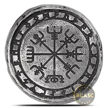 1 oz Silver Viking Symbols MK BarZ .999+ Fine 3D Art Round
