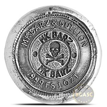 1 oz Silver Viking Symbols MK BarZ .999 Fine 3D Art Round - Image