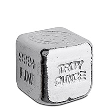 1 oz Silver Cube Yeager's Poured .999+ Fine Silver Bullion