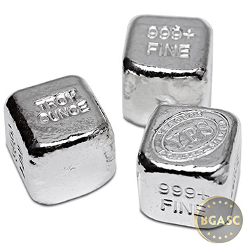 1 oz Silver Cube Yeager's Poured .999 Fine Silver Bullion - Image