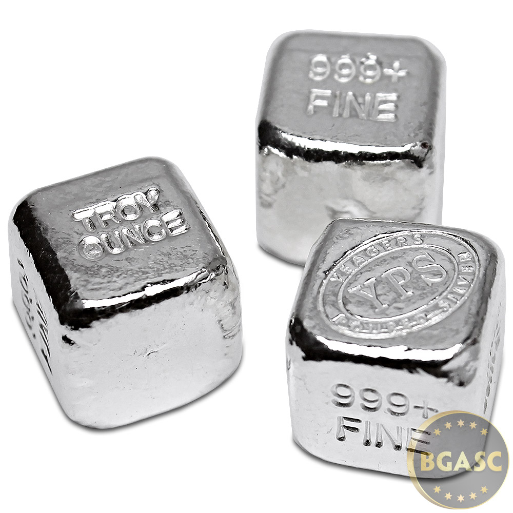 Buy 1 Oz Silver Cube Yeager S Poured 999 Fine Silver