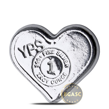 1 oz Silver Heart Yeager's Poured .999 Fine 3D Art Bar - Image