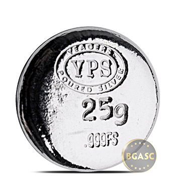 25g Silver Plata Muerta Yeager's Poured .999 Fine 3D Art Round - Image