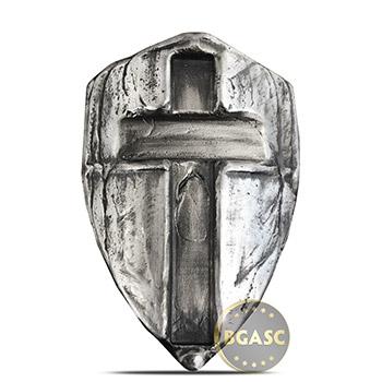 2 oz Silver Templar's Cross Shield MK BarZ .999 Fine 3D Art Bar