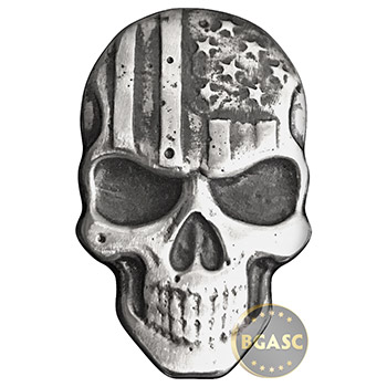2 oz Silver Stars & Stripes Skull MK BarZ .999 Fine 3D Art Bar