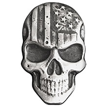 2 oz Silver Stars & Stripes Skull MK BarZ .999 Fine 3D Art Bar