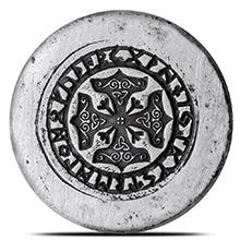2 oz Silver Viking Rune Kreis MK BarZ .999 Fine 3D Art Round