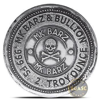 2 oz Silver Viking Rune Kreis MK BarZ .999 Fine 3D Art Round - Image