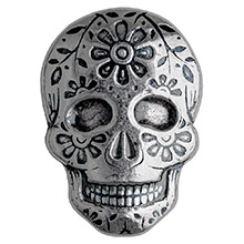 2 oz Silver Day of the Dead Sugar Skull Monarch Poured .999 Fine 3D Art Bar - Marigold