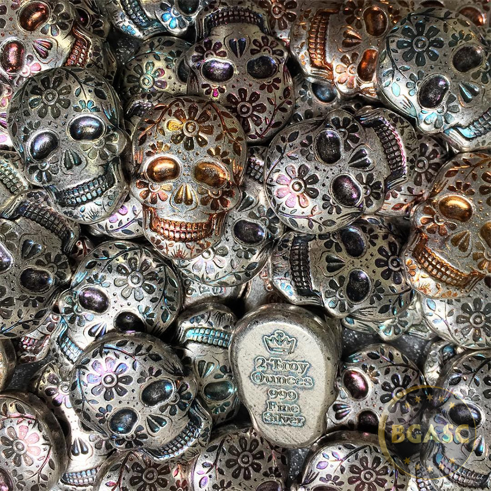Buy 2 Oz Silver Day Of The Dead Sugar Skull Monarch Poured