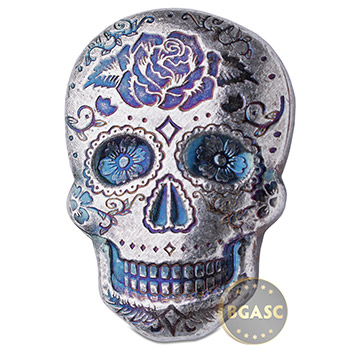 2 oz Silver Day of the Dead Sugar Skull Monarch Poured .999 Fine 3D Art Bar - Rose