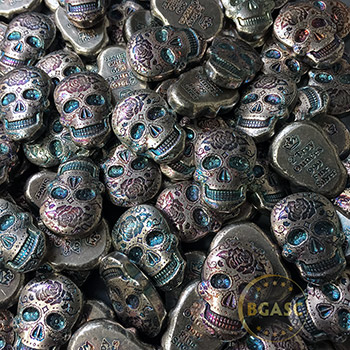 2 oz Silver Day of the Dead Sugar Skull Monarch Poured .999 Fine 3D Art Bar - Image