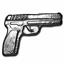 2 oz Silver Gun Monarch Poured .999 Fine 3D Pistol Handgun Art Bar